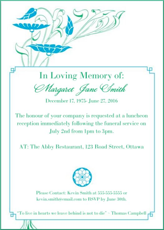 Funeral Reception Invitation Example 2