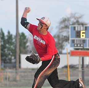 Lovell Mustangs pitcher Dakota Bond delivers a pitch during Lovell's 6-4 win against Riverton July 1 in Greybull. Bond won that game and also engaged in a pitchers' duel against the Jackson Giants Saturday in Billings. Nathan Oster photo