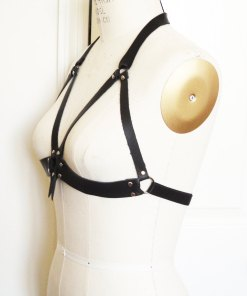 harness bra, leather bra, open cup bra, risque lingerie, women's intimates, fetish, bdsm style