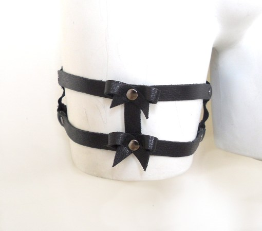 leather bow garter band, strappy cage lingerie, sexy gothic fashion, love lorn lingerie