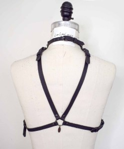 high neck leather harness bralette, love lorn lingerie