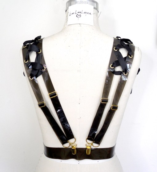 ribbon laced pvc harness, love lorn lingerie