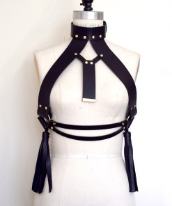 High neck leather harness bra, Love Lorn Lingerie