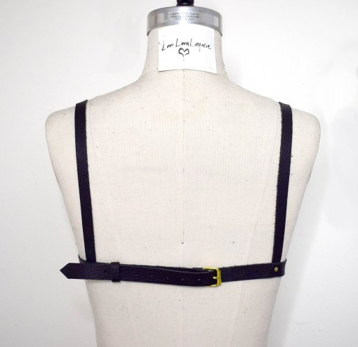 leather harness bullet bra, harness bralette, love lorn lingerie