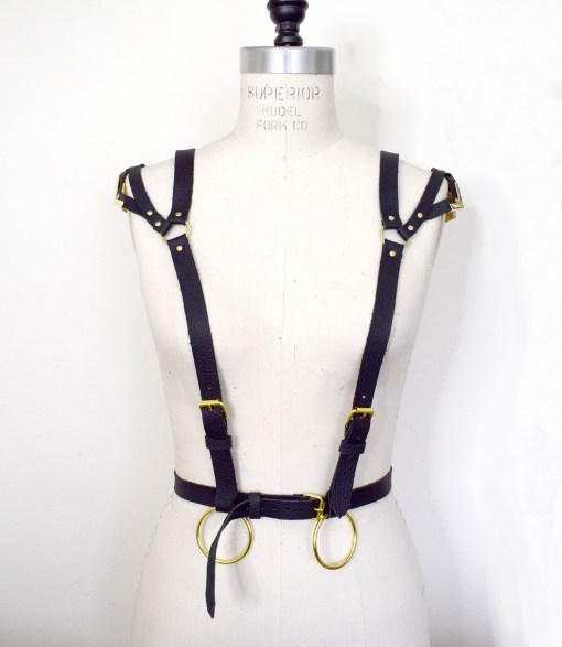 leather suspender body harness, leather harness, lovelornlingerie