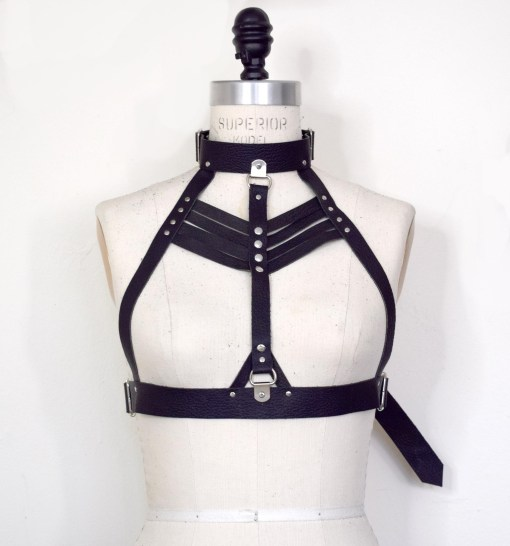 high neck leather harness bra, lovelornlingerie