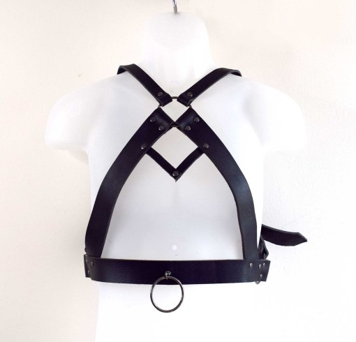 Men's black leather chest harness