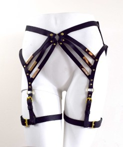 Black leather leg harness