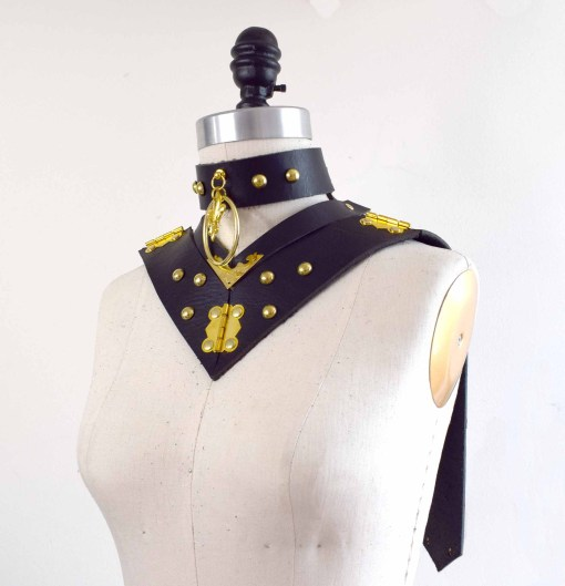 black leather posture collar