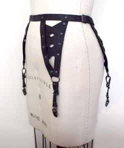 woven black leather garter belt, love lorn lingerie