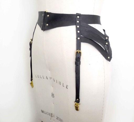 strappy leather garter belt, love lorn lingerie