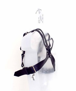 mens black leather chest harness