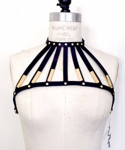 black leather neck harness