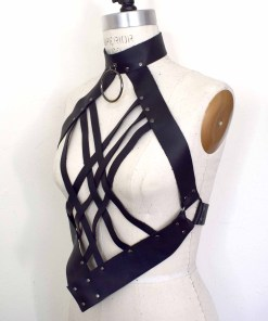 Black Leather Harness Dudou