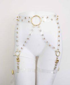 clear vinyl rhinestone leg harness