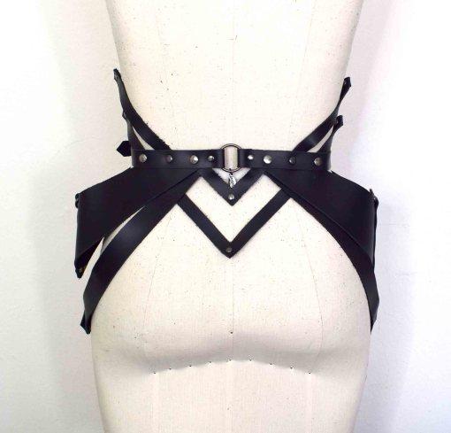 Black Leather Peplum Belt
