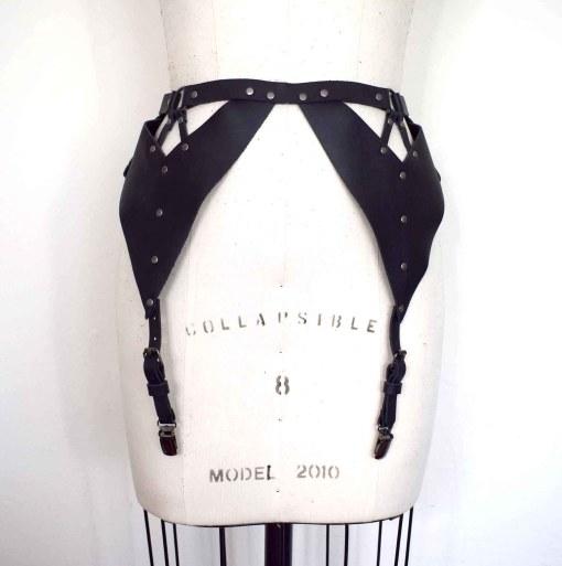 strappy leather garter belt
