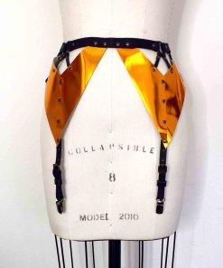 metallic leather garter belt