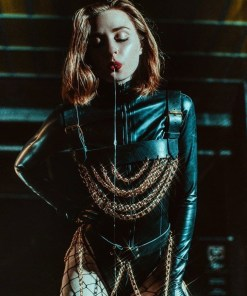 chain leather harness