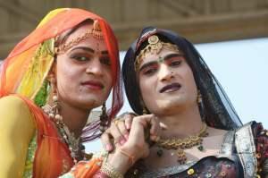 PUSHKAR,INDIA - NOVEMBER 12: Unidentified hijras - holy people,s