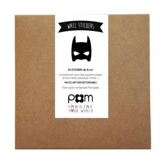 Pöm le bonhomme - stickers masques super hero noir