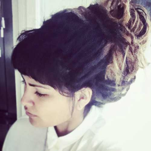 20 Bun Hairstyles With Bangs Hairstyles Amp Haircuts 2016