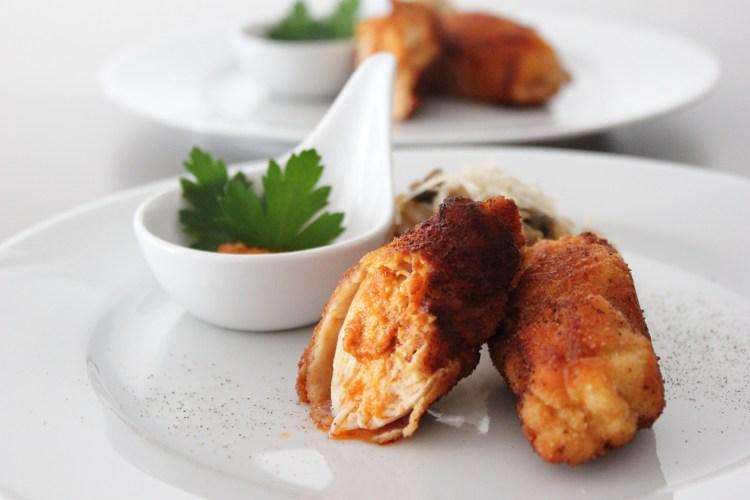 Hühner Pesto Roulade mit Knusperhülle