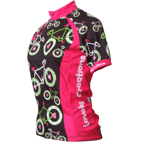Pink White Green Bicycles Short Sleeve Jersey Side.fw