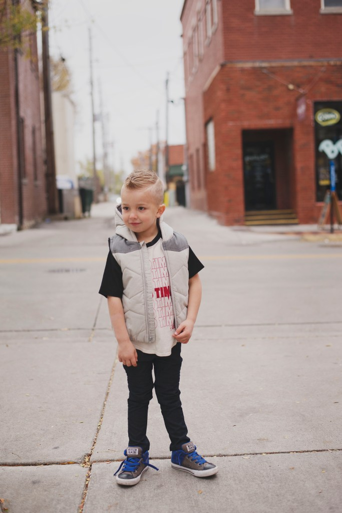 Kids Winter Fashion Good Times Tee Tiny Whales Kinderland Boys Puffer Vest Kinderland Boys Dark Moto Jeans