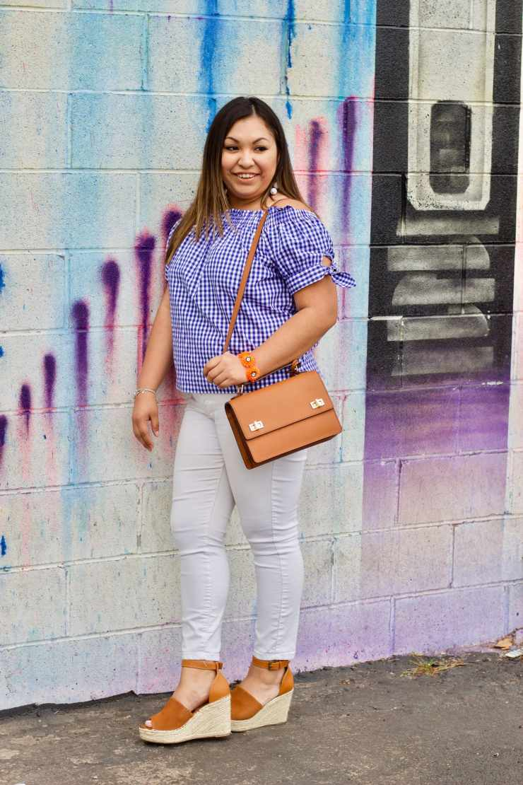gingham top, gingham off the shoulder, white jeans, how to style white jeans, outfits with white jeans