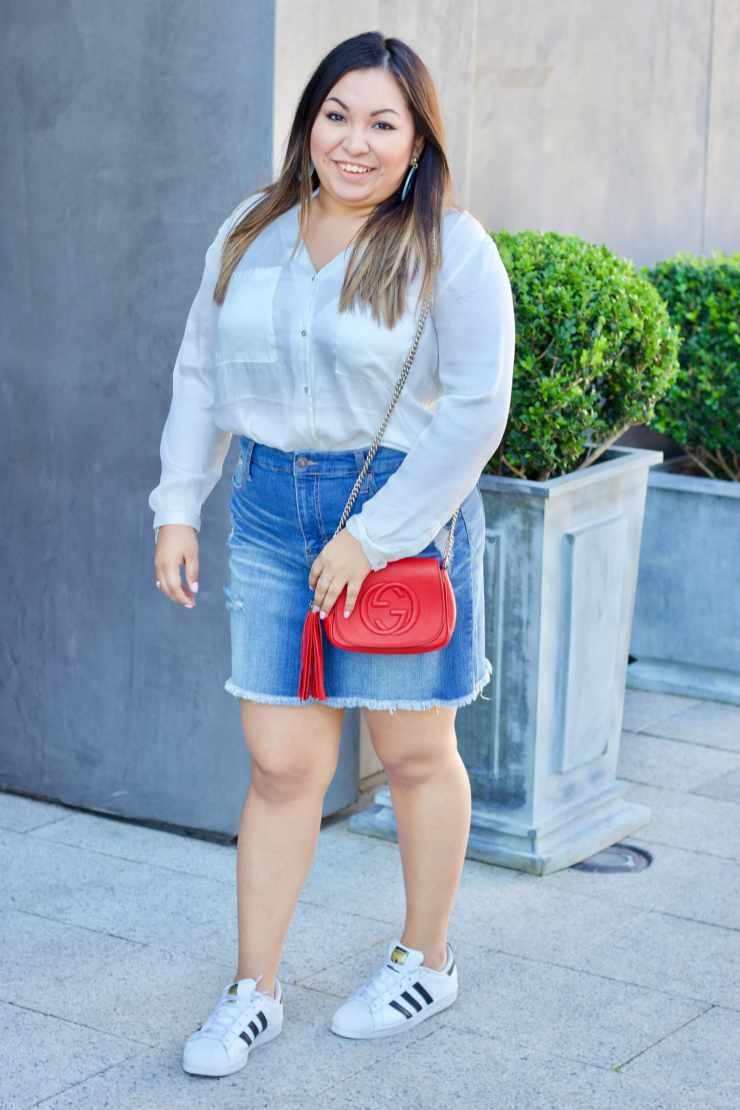 gucci, gucci bag, button up top, denim skirt