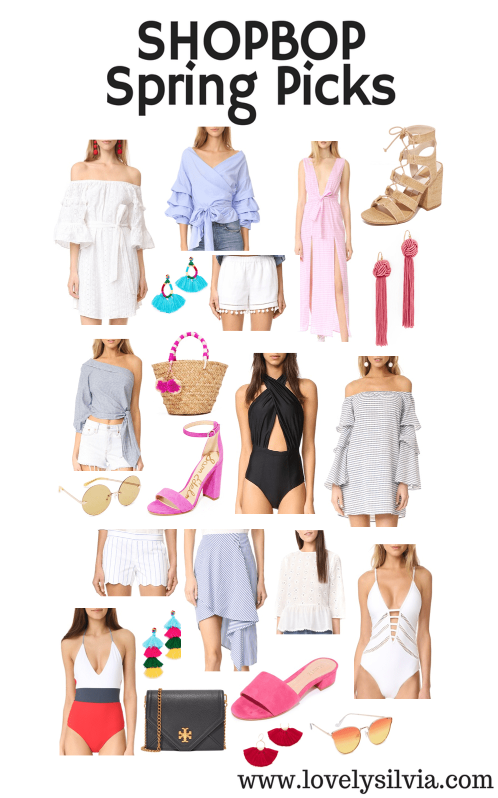 shopbop, shopbop sale, spring picks, spring 2017, shopbop shopping list, what to buy from shopbop, spring dress, spring tops, ruffle top, ots, off the shoulder dress, earrings, statement earrings, one piece swimsuit, one piece swim, mules, pink mules, chunky heels, beach bag, trendy wear, trendy bag, summer clothes, what to wear for the summer, outfit inspiration, dress inspiration