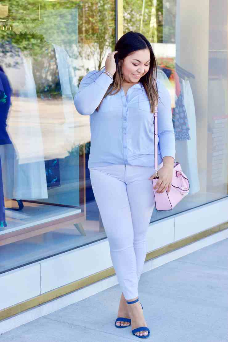 spring outfit, spring inspiration, spring colors, what to wear during the spring season, outfit inspo, blue top, white jeans,