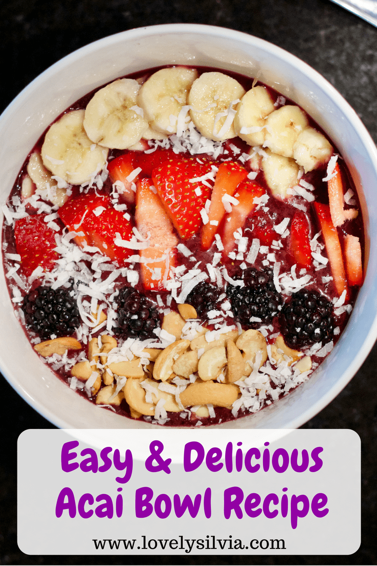easy acai bowl, easy and delicious acai bowl recipe, acai bowl recipe, how to make an acai bowl, what are acai bowls, acai bowls at home, acai, easy breakfast idea, whole 30 breakfast idea, easy whole 30 ideas