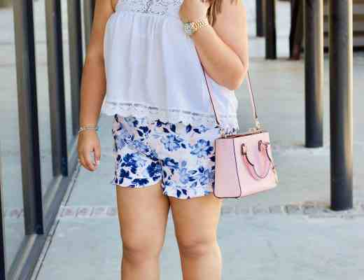 pajama shorts, white halter top, denim block heels, pink purse