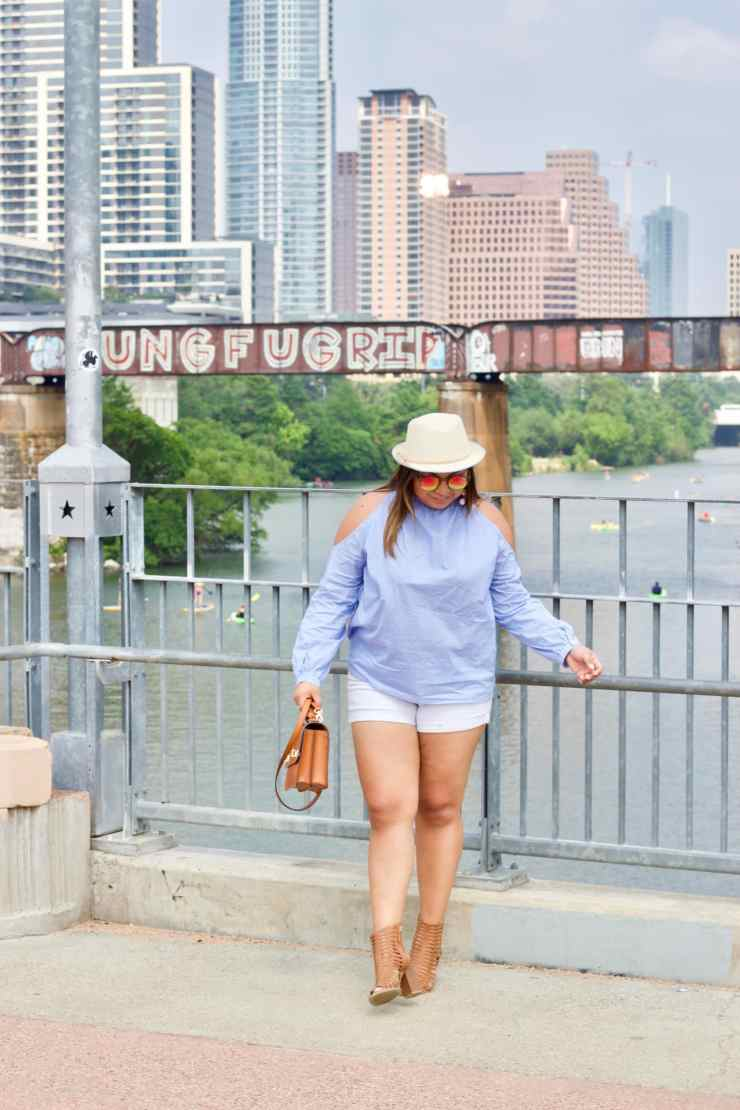 cute outfits, white shorts, blue top, hat, caged shoes