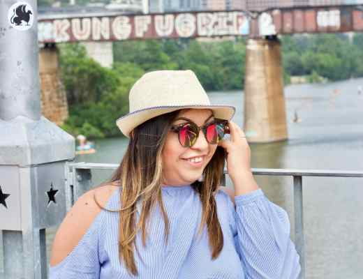 sunglasses, hat, blue shirt, blue top, open shoulder top, summer outfits, summer date night outfit