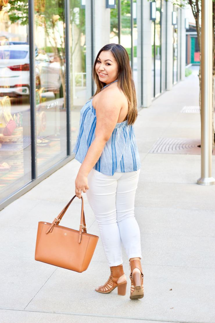 blue and white top, halter top, white jeans, tory burch bag