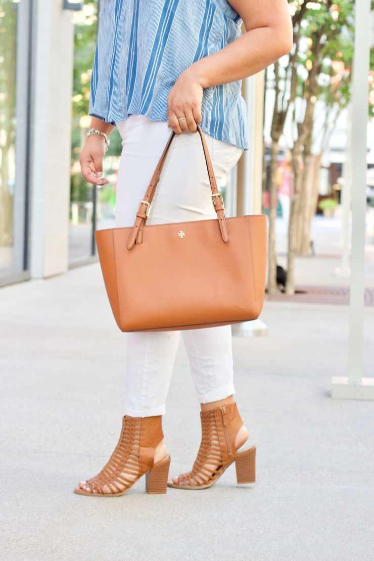 tory burch tote, cute purses, cute summer bags, caged sandals, cute summer shoes