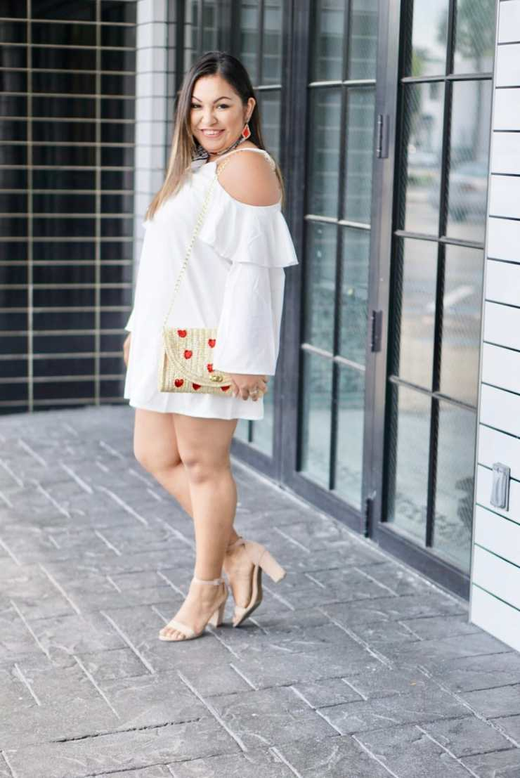 chunky heel, cute shoes for the summer, summer trends 2017, cold shoulder dress