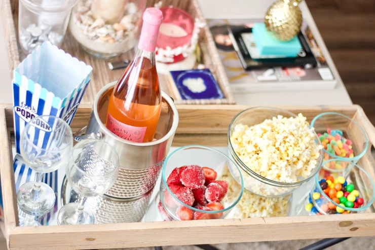 Rose, rose strawberries, popcorn, gummy worms, m&ms, girls night in, summer date idea