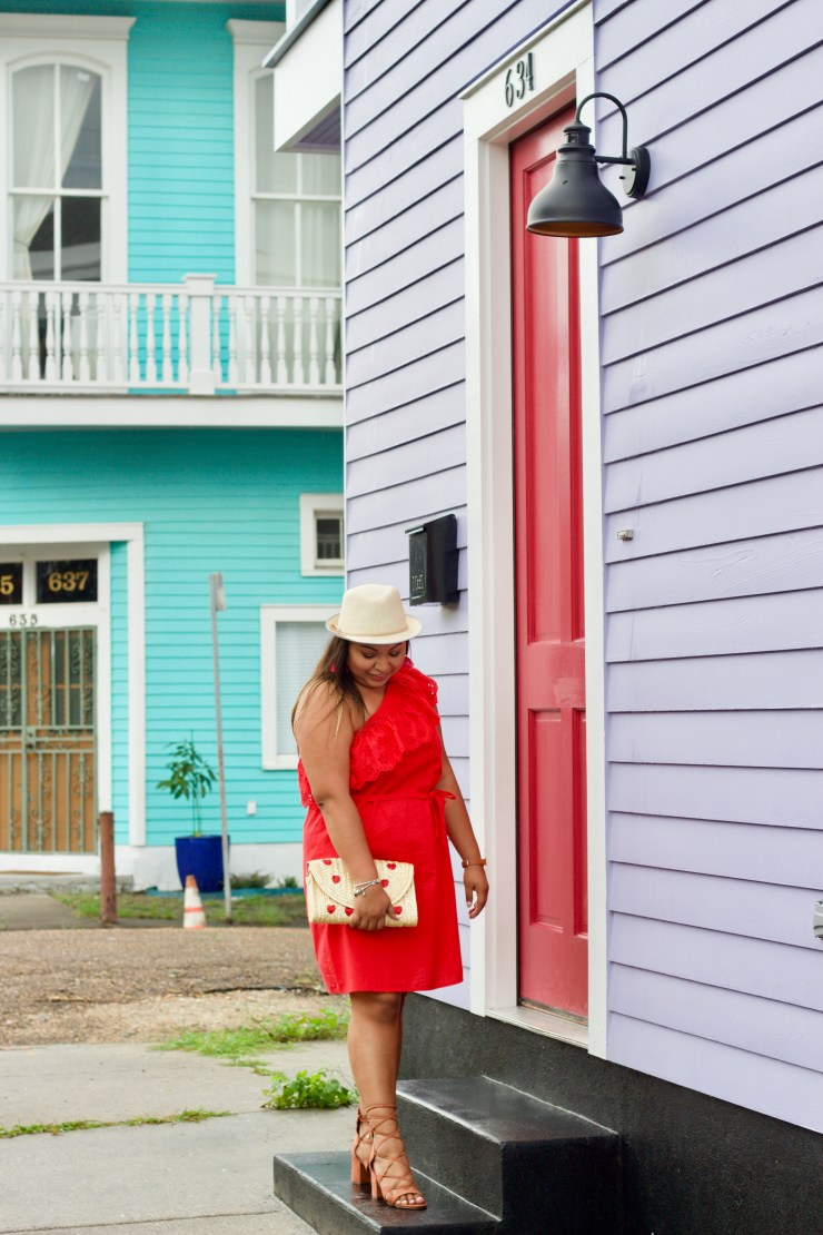 red dress, travel outfit ideas, new orleans, houses in new orleans