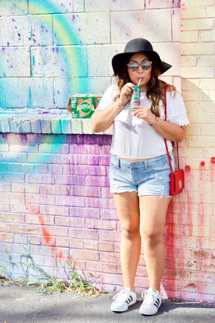 zipper wall, zipper mural, houston murals, visiting houston, houston graffiti, where to take pictures in houston, perrier, perrier strawberry, perrier summer