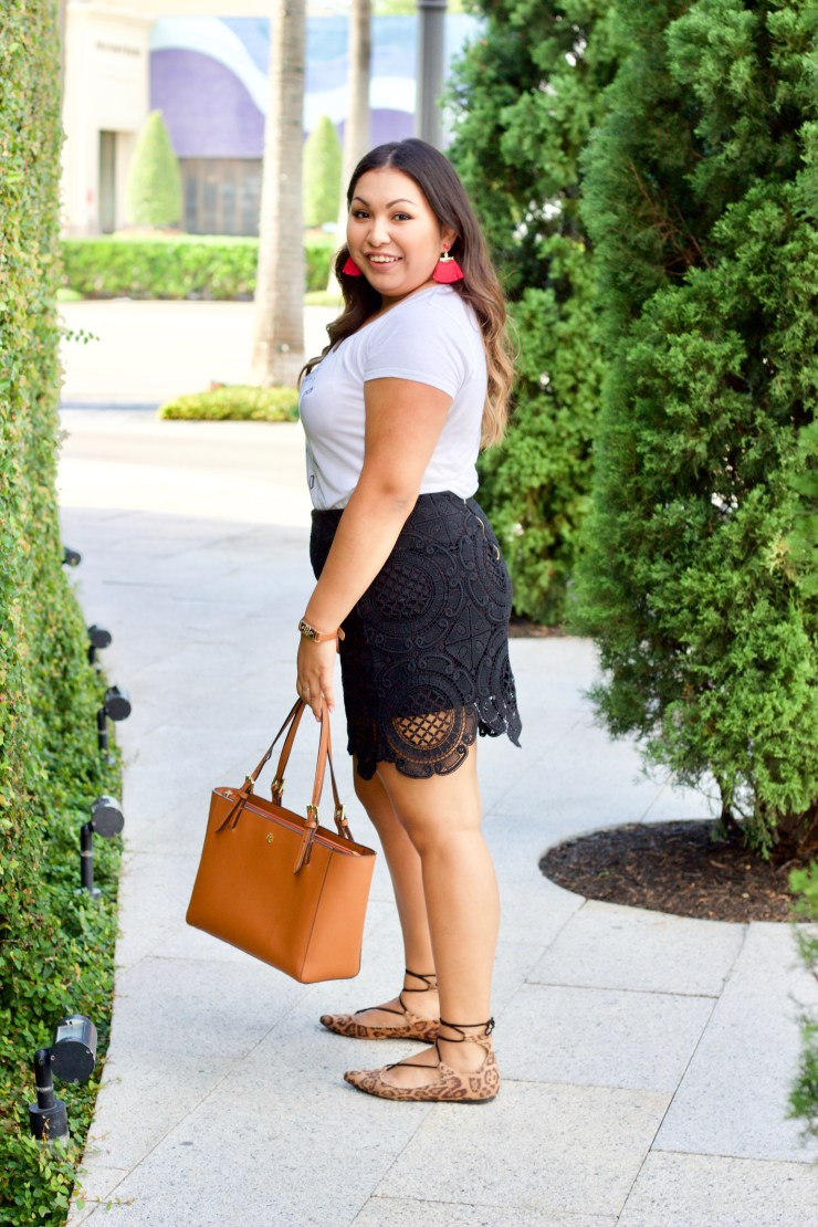 graphic tees, cute graphic tees, fashion trends, blogger outfits, cute outfits, outfits to wear in the summer, black lace skirt, leopard print shoes, leopard print flats, tory burch, tory burch tote, express tee, baublebar earrings, sugarfix jewelry,