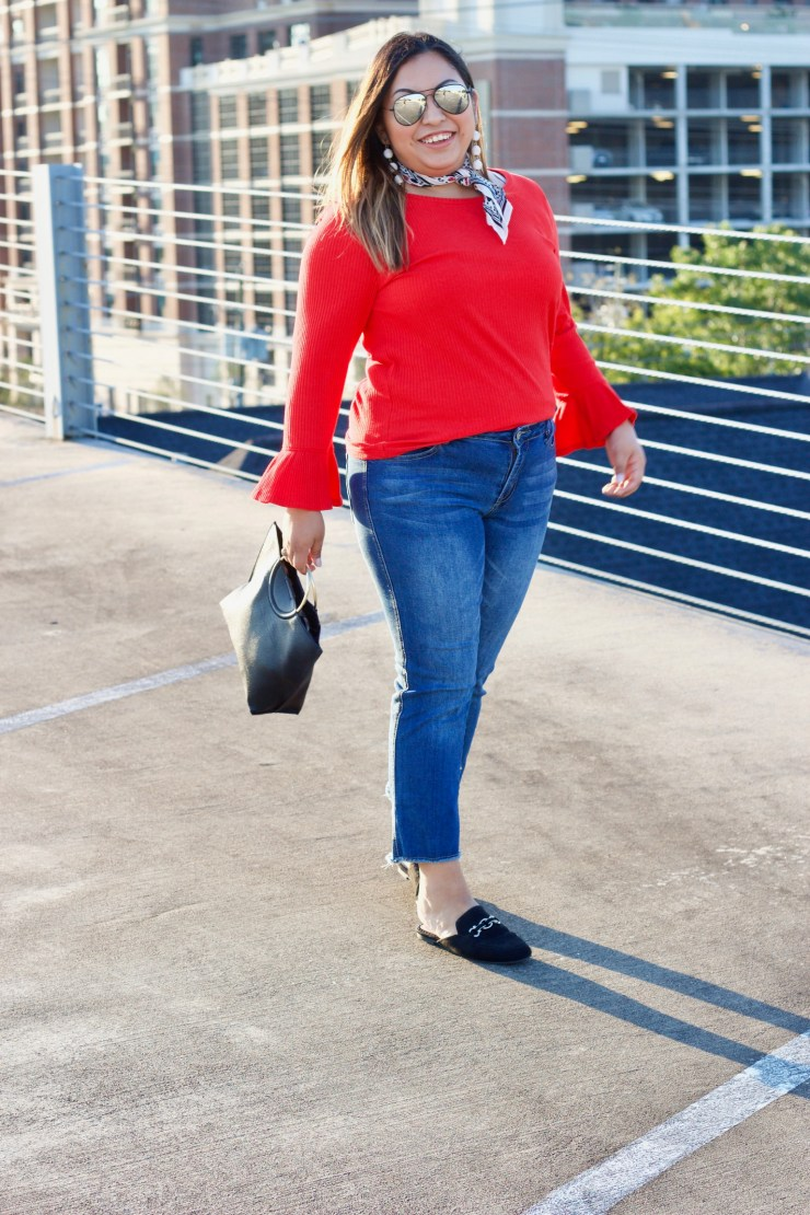 red top, red long sleeve, bell sleeve top, cropped jeans, black mules, black ring bag, outfit for fall, colors for fall, red for fall, styling red for fall, fall outfit 2017, bright colors for fall,