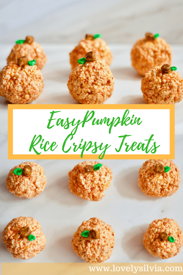 halloween treat, halloween rice crispy, halloween dessert, fall dessert, pumpkin dessert, thanksgiving dessert, thanksgiving treat, pumpkin rice crispy, rice crispy treat, homemade rice crispy treat, cute pumpkin dessert, kids dessert, easy dessert for halloween, easy recipe for halloween, easy dessert for fall, easy dessert for thanksgiving