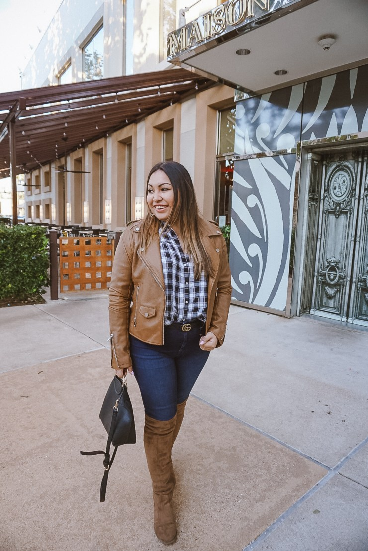 blanknyc leather jacket, top 5 purchases of 2017, leather jacket, plaid shirt, dark denim, over the knee boots, cognac boots, cognac jacket, gucci belt, fall outfit, winter outfit, cute outfit, leather jacket outfit