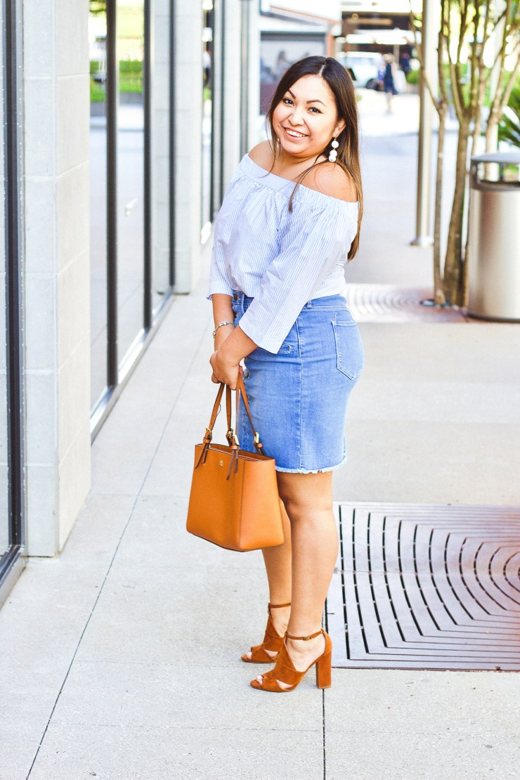 spring outfit, cute spring outfit, tory burch tote, denim skirt, off the shoulder top, denim skirt outfit, off the shoulder top outfit, triad ball earrings
