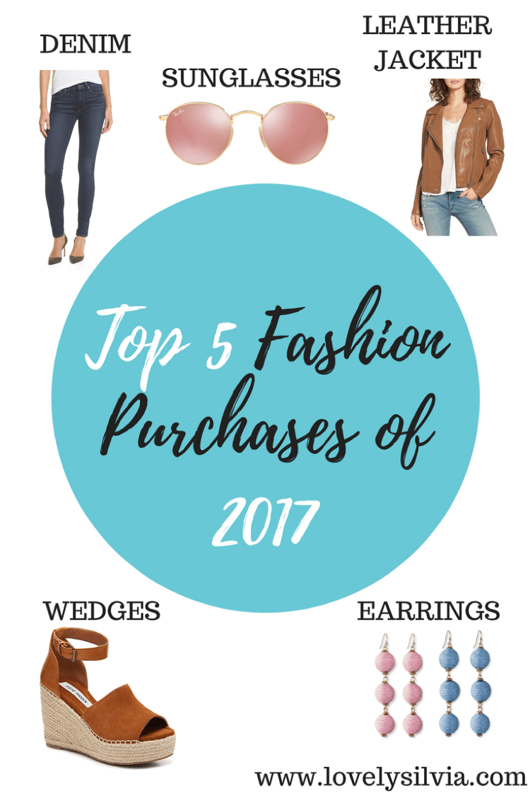 top 5 fashion purchases of 2017, 2017 trends, 2017 fashion trends, paige denim, round ray ban, blanknyc leather jacket, steve madden wedges, baublebar earrings