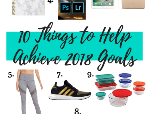 goals, 10 things to help achieve goals, things to achieve goals for 2018, goals for 2018, adidas, zella, pyrex, glass bottles, planner, iPad, lightroom, vital proteins, fitbit, spa headband